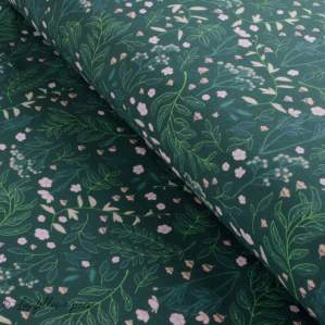 Tissu french terry coton FLOWER GARDEN - Vert forêt - Oeko-Tex ® - See You At Six ® See You At Six - 1