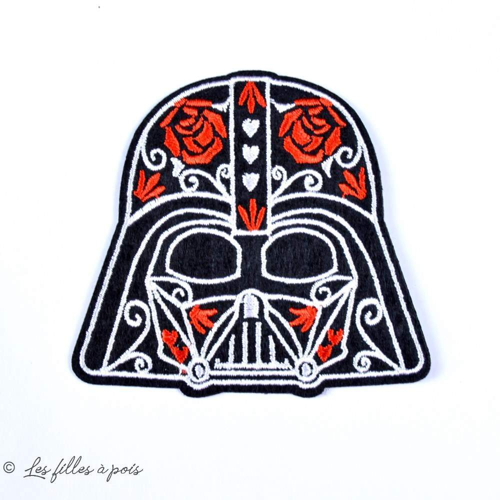 "Écusson Dark Vador ""StarWars"" - Rouge, noir et blanc - Thermocollant - 1"