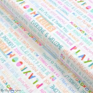 "Tissu coton motif fleurs ""Angles Playroom"" - Ecru et multicolore - Oekotex ® - AGF ® Art Gallery Fabrics ® - 1"