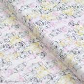 "Tissu coton motif loutres ""Capsules Pines Lullaby"" - Blanc, ocre, rose et bleu - Oekotex ® - AGF ®"