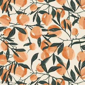 "Tissu coton motif fruits ""Her et History"" - Orange - Oekotex ® - AGF ®"