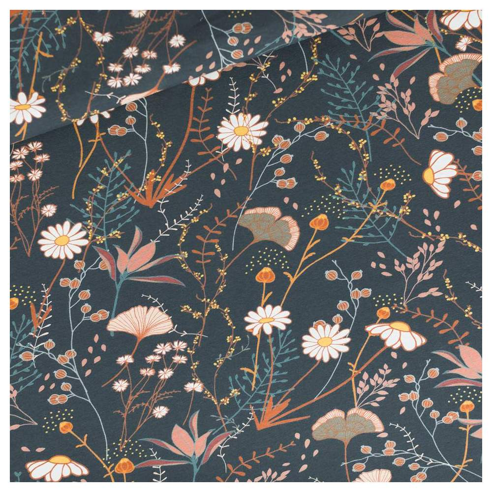 Tissu french terry coton FLOWERS FIELD - Bleu nuit - Oeko-Tex ® - See You At Six ® See You At Six - 1