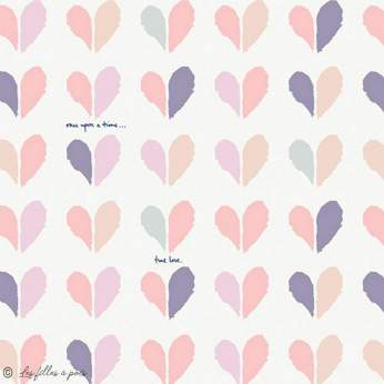 """Tissu coton motif coeur """"Ethereal Fusion"""" - Blanc et tons rose - AGF ®"""