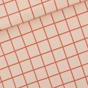 Tissu french terry coton GRID - Rose soirée et rouge - Oeko-Tex ® - See You At Six ® See You At Six - 1