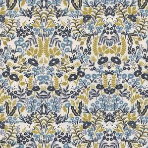 "Tissu coton canvas motif fleuri ""Menagerie"" - Cotton and steel ® Cotton + Steel Fabrics ® - 1"