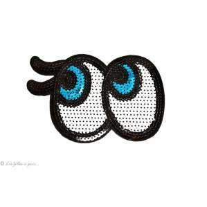 Ecusson sequin gros yeux - Blanc - Thermocollant - 1