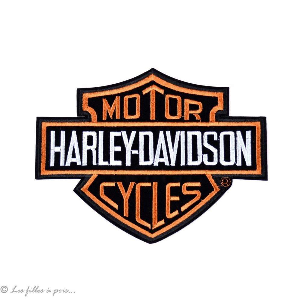 Écusson grand Harley Davidson - Noir et orange - Thermocollant - 1